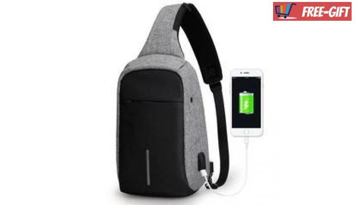 Мултифункционална диагонална чанта с  USB порт снимка #2