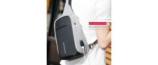 Мултифункционална диагонална чанта с  USB порт снимка #1