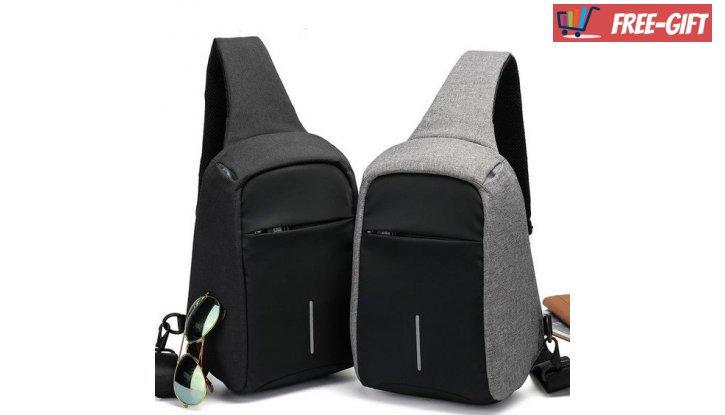 Мултифункционална диагонална чанта с  USB порт снимка #0