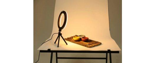 Професионална LED ринг Селфи лампа 16см за снимки и видео с трипод снимка #2