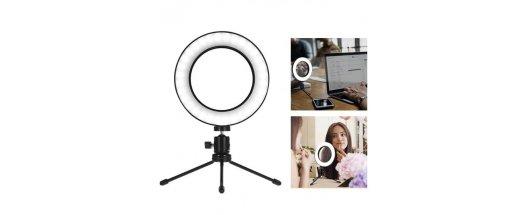 Професионална LED ринг Селфи лампа 16см за снимки и видео с трипод снимка #0