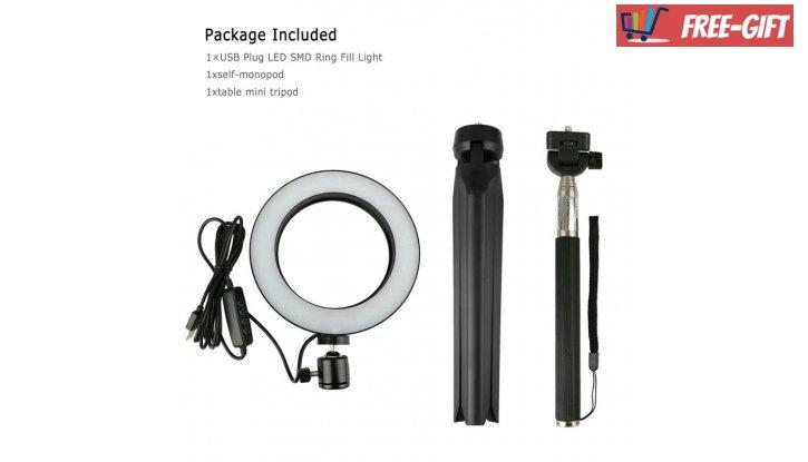 Професионална LED ринг Селфи лампа 16см за снимки и видео с трипод снимка #1