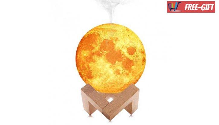 3D Led лампа и аромадифузер с формата на Луна  снимка #0