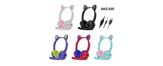 Детски стерео слушалки с микрофон - Котешки ушички снимка #1