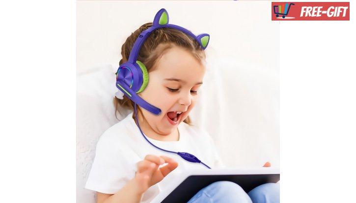 Детски стерео слушалки с микрофон - Котешки ушички снимка #2